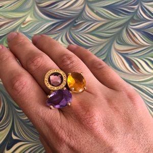 COACH Brass Gemstone Chunky Ring